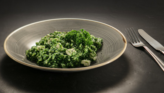 Spinazie risotto met feta