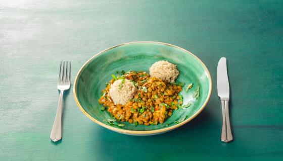 Marokkaanse linzenschotel met quinoa